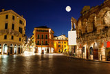 Full Moon above Piazza Bra and Ancient Roman Amphitheater in Ver