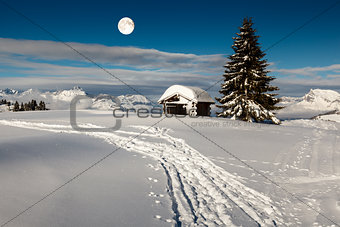 Full Moon above Small Hut and Fir Tree on the Top of the Mountai