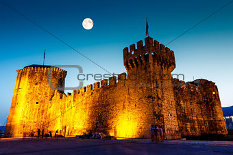 Full Moon above Medieval Castle of Kamerlengo in Trogir, Croatia
