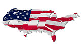 United States map cracked