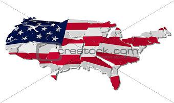 United States map cracked
