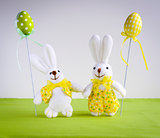Easter funny bunnies with eggs