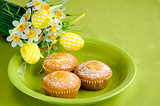 Easter cakes on plate with flowers on green