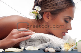 female during luxurious procedure of massage