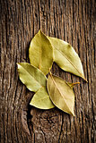 bay leaves on old wooden table