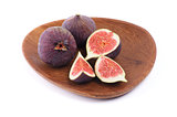 Perfect Figs on Wood Plate