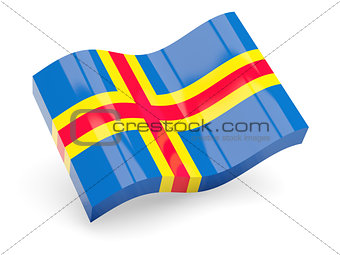 3d flag of Aland Islands