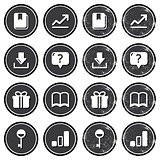 Web navigation icons on retro labels set