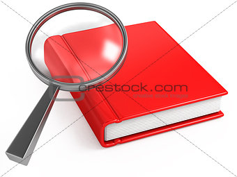 classic magnifier and red book on white
