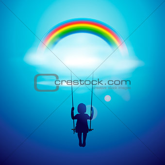 Little girl on a swing under rainbow in a clouds