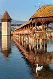 Morning Chapel Bridge in Luzern