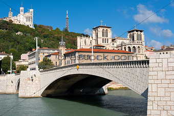 Lyon and Saone river in summer