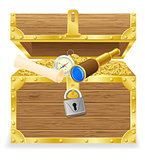 antique treasure chest vector illustration