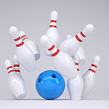 Blue ball knocks down pins for bowling