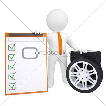 3D man holding a car wheel