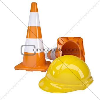 Traffic cone and helmet