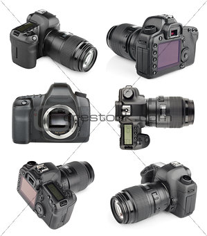 Set of modern digital SLR cameras