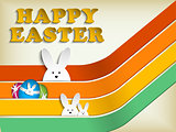 Happy Easter Rabbit Bunny on Retro Background