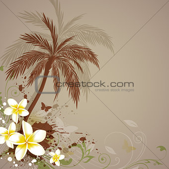 Background with flowers and palm