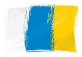 Grunge Canary Islands flag