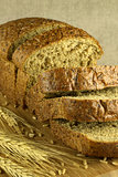 Bread cut on a blurry background