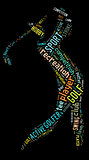 Golf pictogram with colorful wordings on black background