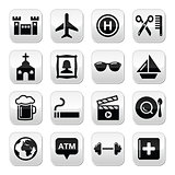 Travel tourism and transport vector buttons set