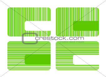Business cards with green stripes in four versions