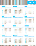 Annual calendar for 2013 year with blue stripes