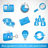 Set of 9 icons with blue gradient for websites and mobile devices