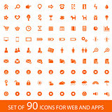 Set of 90 orange icons with white background