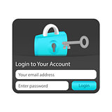 Dark login to your account website element with blue lock and grey key