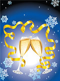 Christmas postcard with two glass of champagne