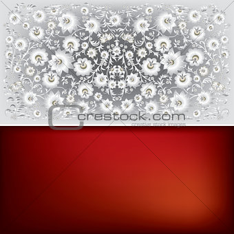 abstract floral ornament isolated on gray