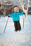 Cute little boy having fun during skiing on cross