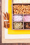 Ingredients for baking in a wooden box
