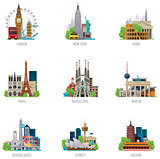 Vector travel destinations icon set