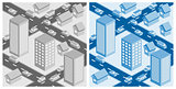 Decorative cityscape. EPS10 vector illustration.