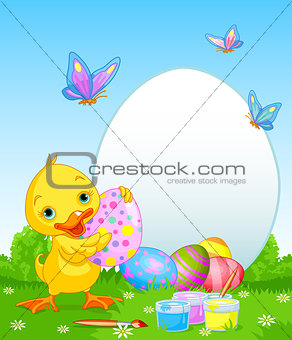 Easter Duckling painting Easter Eggs