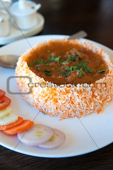 traditional Indian meal with rice and curry