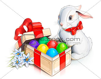 easter rabbit bunny and box with eggs