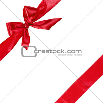 red ribbon with bow, square composition