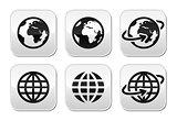 Globe earth vector buttons set