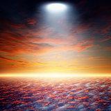 Bright spotlight from above