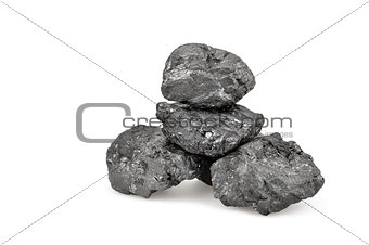 Small pile of coal isolated on white