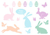 Easter bunnies and eggs, vector set