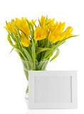 yellow Tulips and photo frame