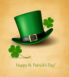 Saint Patrick's Day card with clove leaf and green hat. Vector