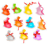 Decorative easter rabbits. Easter cards with red bow and ribbons