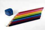 Row of colored pencils.